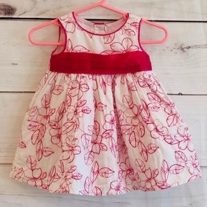 George baby girl hot pink and white dress, Sz 3-6M